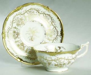 Royal Cauldon KingS Plate White Footed Cup & Saucer Set, Fine China Dinnerware
