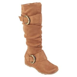 Womens Bamboo By Journee Slouchy Buckle Boots   Camel 8.5W