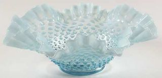 Fenton Hobnail Blue Opalescent Crimped Round Bowl   Blue Opalescent
