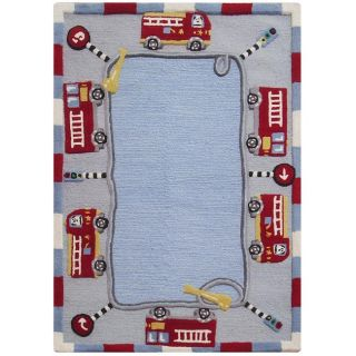 Nuloom Hand carved Kids Fire Trucks and Lights Blue Wool Rug (36 X 56)