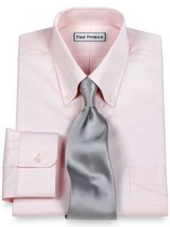 Paul Fredrick Mens 2 Ply Cotton Pinpoint Button Down Collar Button Cuff Trim