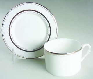 Lenox China Library Lane Platinum Flat Cup & Saucer Set, Fine China Dinnerware