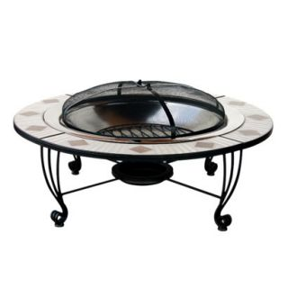 Mosaic Tile Outdoor Fire Pit   Stainless Steel