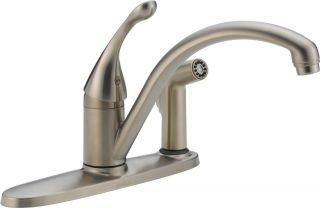 Delta 340SSDST Collins Single Handle Kitchen Faucet with Integral Spray Brilliance Stainless Steel