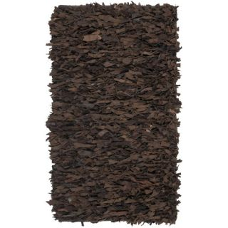Safavieh Leather Shag Dark Brown Rug LSG421D