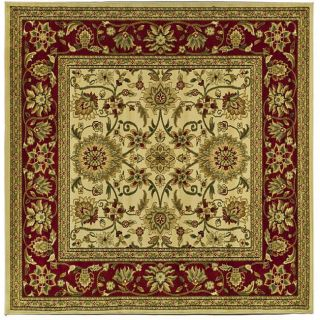 Lyndhurst Collection Majestic Ivory/ Red Rug (6 Square)