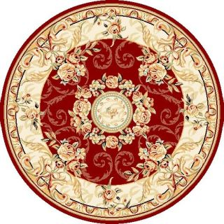 Lyndhurst Collection Aubussons Red/ Ivory Rug (5 3 Round)