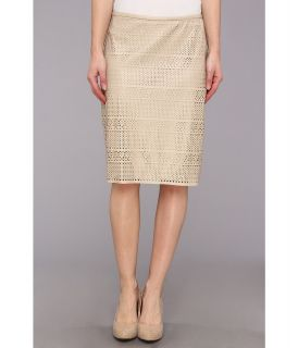 Calvin Klein Faux Leather Perforated Skirt Womens Skirt (Brown)