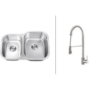 Ruvati RVC2516 Combo Stainless Steel Kitchen Sink and Chrome Faucet Set