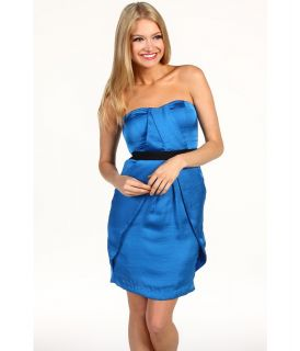 Vince Camuto Strapless Pleat Front Dress Womens Dress (Blue)