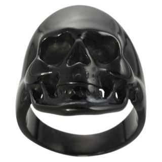 Daxx Mens Black Stainless Steel Skull Ring   Black 10