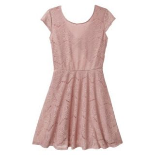 Xhilaration Juniors Open Back Lace Dress   Pale Mauve M(7 9)