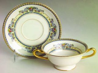 Lenox China Golden Gate (Gold Trim) Footed Cream Soup Bowl & Saucer Set, Fine Ch