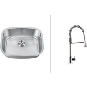Ruvati RVC2481 Combo Stainless Steel Kitchen Sink and Chrome Faucet Set