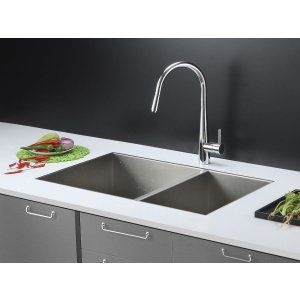 Ruvati RVC2342 Combo Stainless Steel Kitchen Sink and Chrome Faucet Set