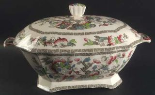 Johnson Brothers Indian Tree (Green Key, Cream) Rectangular Tureen & Lid, Fine C