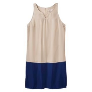 Merona Womens Colorblock Hem Shift Dress   Hamptons Beige/Waterloo Blue   L