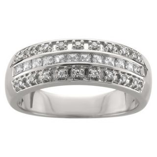 3/8 CT. T.W. Princess and Round Cut Diamond Band Channel and Prong Set Ring in