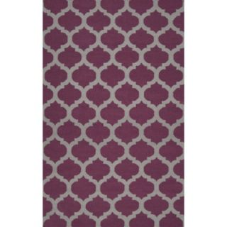 Fretwork Flat Weave Area Rug   Wine (8x11)
