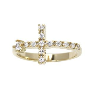 Bridge Jewelry Cubic Zirconia Cross Ring