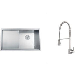Ruvati RVC2366 Combo Stainless Steel Kitchen Sink and Chrome Faucet Set
