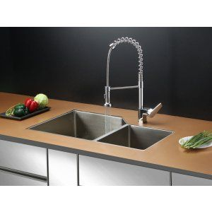 Ruvati RVC1351 Combo Stainless Steel Kitchen Sink and Chrome Faucet Set