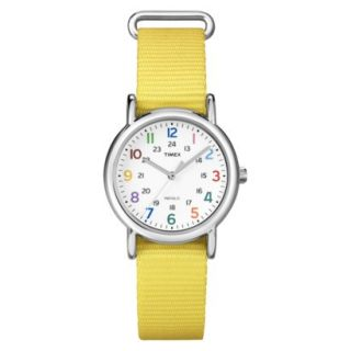 Timex Weekender Mid Size Canvas Strap with White Dial and Multi Colored Numbers