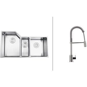 Ruvati RVC2581 Combo Stainless Steel Kitchen Sink and Chrome Faucet Set