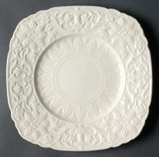 Royal Cauldon Beverly Cream Square Luncheon Plate, Fine China Dinnerware   Cream