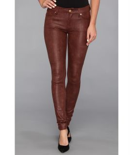 7 For All Mankind The Knee Seam Skinny w/ Contoured Waistband in Crackle Leather Like Wine Womens Jeans (Burgundy)