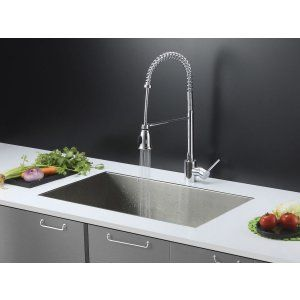 Ruvati RVC2606 Combo Stainless Steel Kitchen Sink and Chrome Faucet Set