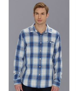 Lucky Brand Somerset Plaid 1 Pocket Mens Long Sleeve Button Up (Blue)