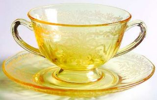 Fostoria June Topaz/Yellow Bouillon Cup & Saucer Set   Stem #5098, Etch #279, Ye