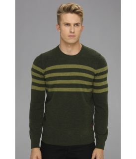Ben Sherman Two Color Stripe Crew Neck Sweater Mens Sweater (Green)
