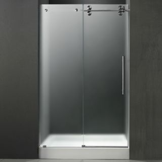 Vigo Industries VG6041STMT60RWM Shower Door, 60 Frameless 3/8 Right w/White Base Center Drain Frosted/Stainless Steel