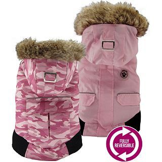 FouFou Dog Canada Fouse Camo Reversible Pet Winter Coat, Pink