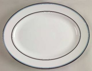 Lenox China Library Lane Aqua 13 Oval Serving Platter, Fine China Dinnerware