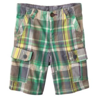 Genuine Kids from OshKosh Infant Toddler Boys Plaid Cargo Short   Green 4T
