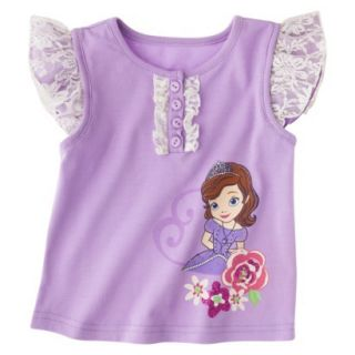 Disney Sofia the First Toddler Girls Lace Cap Sleeve Tee   Lilac 5T