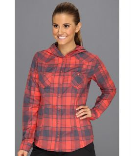 Mountain Hardwear Stretchstone Flannel Hooded Shirt Womens Long Sleeve Button Up (Red)