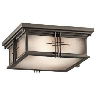 Kichler 49164OZ Outdoor Light, Arts and Crafts/Mission Flush Mount 2 Light Fixture Olde Bronze