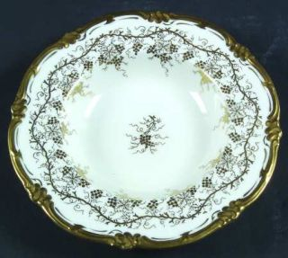 Royal Cauldon KingS Plate White Rim Soup Bowl, Fine China Dinnerware   Gold Gra