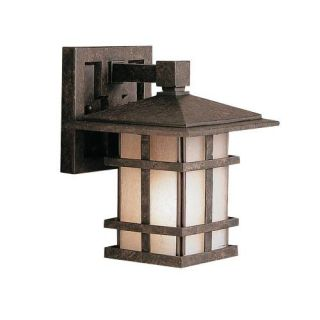 Kichler 9128AGZ Outdoor Light, Arts and Crafts/Mission Wall 1 Light Fixture Aged Bronze