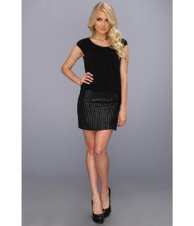 Laundry by Shelli Segal Cap Sleeve MJ Sequin 2 fer Matte Jersey Dress Womens Dress (Black)
