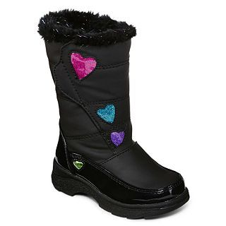 Totes Tiffany Toddler Girls Faux Fur Lined Boots, Black, Black, Girls