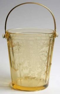 Fostoria June Topaz/Yellow Ice Bucket with Detachable Handle   Stem #5098, Etch
