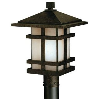 Kichler 9529AGZ Outdoor Light, Arts and Crafts/Mission Post Mount 1 Light Fixture Aged Bronze