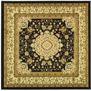 Lyndhurst Collection Mashad Black/ Ivory Rug (6 Square)