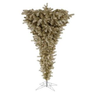 7.5 Pre Lit Champagne Upside Down Tree   Clear Lights