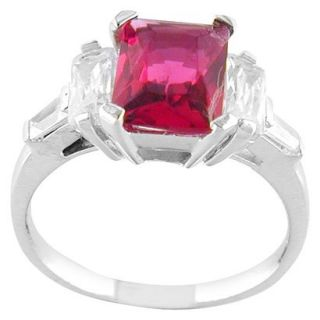 Hot Pink Silver Plated Square Ring   8.0
